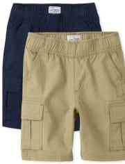Boys Uniform Pull On Cargo Shorts 2-Pack