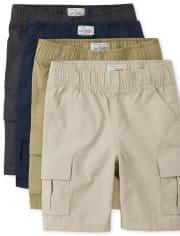Boys Uniform Pull On Cargo Shorts 4-Pack