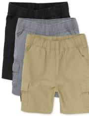 Paquete de 3 pantalones cortos tipo cargo con uniforme para niños pequeños