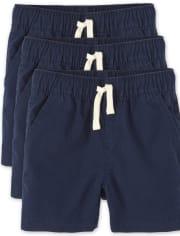Paquete de 3 pantalones cortos tipo jogging sin tirantes para niños pequeños