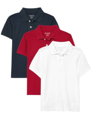 Boys Uniform Pique Polo 3-Pack