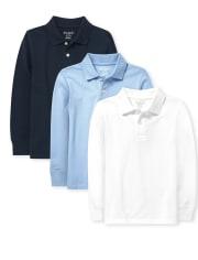 Pack de 3 polos de piqué de manga larga de uniforme para niños