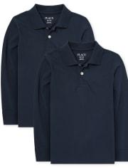 Conjunto de 2 polos de jersey suave de manga larga de uniforme para niños