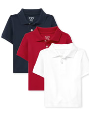 Baby And Toddler Boys Uniform Pique Polo 3-Pack