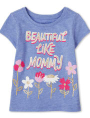 Baby And Toddler Girls Beautiful Like Mommy Graphic Tee