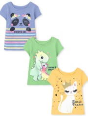 Toddler Girls Daddy's Girl Graphic Tee 3-Pack