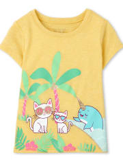 Baby And Toddler Girls Cat And Narwhal Graphic Tee
