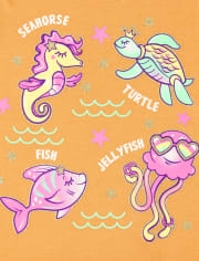 Baby And Toddler Girls Sea Animals Graphic Tee