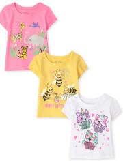 Toddler Girls Animals Graphic Tee 3-Pack