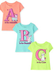 Toddler Girls ABC Graphic Tee 3-Pack