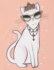 Girls Princess Cat Graphic Tee