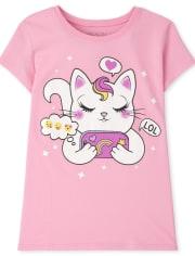 Girls Cat Graphic Tee