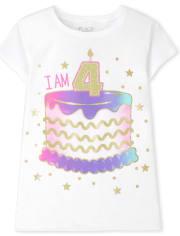 Girls I Am 4 Birthday Graphic Tee