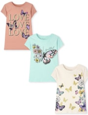 Girls Butterfly Graphic Tee 3-Pack
