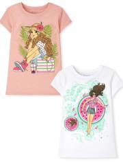 Girls Summer Graphic Tee 2-Pack