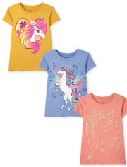 Girls Unicorn Graphic Tee 3-Pack