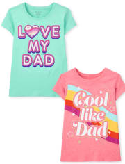 2-Pack Girls Dad Graphic Tee