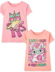 Girls Cats Graphic Tee 2-Pack