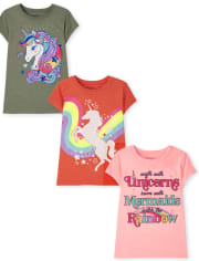 Girls Unicorn Graphic Tee 3-Pack