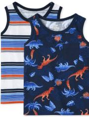Toddler Boys Dino Striped Tank Top 2-Pack