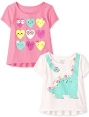 Toddler Girls Graphic Top 2-Pack