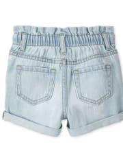 Baby And Toddler Girls Denim Paper Bag Waist Shorts