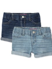 Toddler Girls Roll Cuff Denim Shortie Shorts 2-Pack