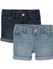 Toddler Girls Roll Cuff Denim Midi Shorts 2-Pack