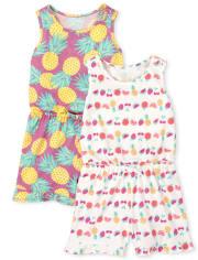 Toddler Girls Print Ruffle Romper 2-Pack