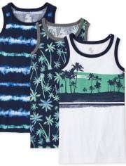 Boys Palm Tree Tank Top 3-Pack