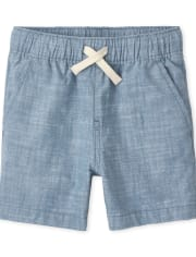 Baby And Toddler Boys Chambray Pull On Jogger Shorts