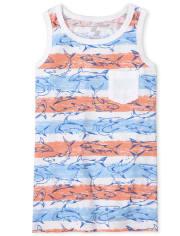 Boys Shark Striped Pocket Tank Top
