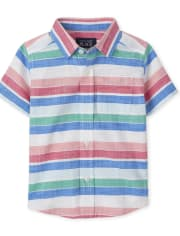Baby And Toddler Boys Striped Chambray Button Down Shirt
