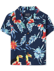 Baby And Toddler Boys Matching Family Tropical Toucan Poplin Button Down Shirt