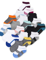 Toddler Boys Colorblock Cushioned Ankle Socks 20-Pack