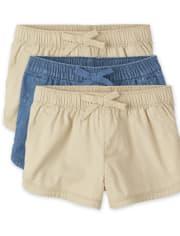 Toddler Girls Pull On Shorts 3-Pack