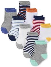 Baby Boys Striped Midi Socks 9-Pack