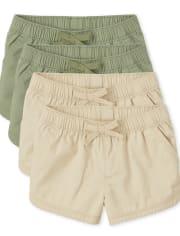 Toddler Girls Pull On Shorts 4-Pack
