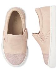 Toddler Girls Uniform Glitter Slip On Sneakers
