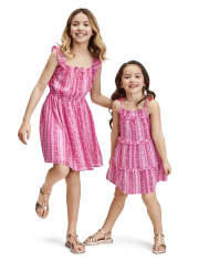 Baby And Toddler Girls Floral Striped Tiered Dress