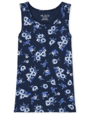 Girls Floral Ribbed Tank Top