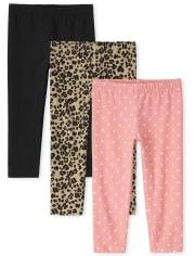 Lot de 3 leggings capri imprimés pour fille
