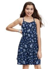 Girls Print Drop Waist Dress