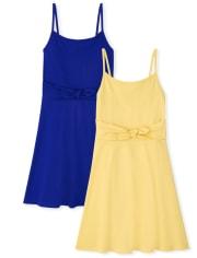 Girls Tie Front Dress 2-Pack