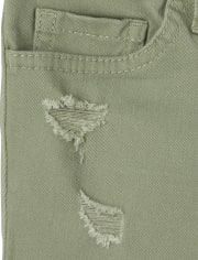 Girls Distressed Denim Shortie Shorts