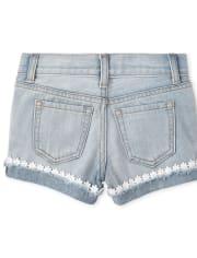 Girls Eyelet Denim Shortie Shorts