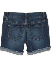 Girls Distressed Denim Midi Shorts 2-Pack