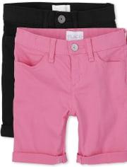 Pack de 2 pantalones cortos skimmer de sarga con puños enrollados para niñas