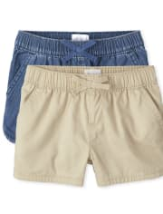 Girls Pull On Shorts 2-Pack
