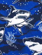 Boys Glow Shark Snug Fit Cotton Pajamas